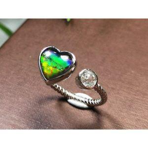 Ammolite Heart Adjustable Silver Ring