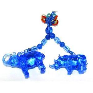 Blue Liuli Elephant and Rhino Protection Amulet1