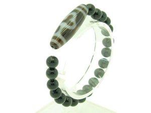 Bodhi Tibetan Dzi With 8Mm Obsidian Bracelet1