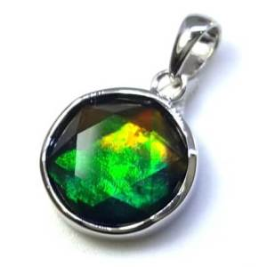 Canadian Ammolite Star of David Pendant with 925 Silver Frame (12mm)1