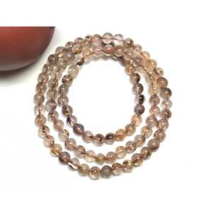 Copper Titanium Rutilated Quartz 3-Round Crystal Bracelet1