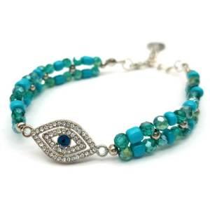 Evil Eye with Turquoise Beads Bracelet1