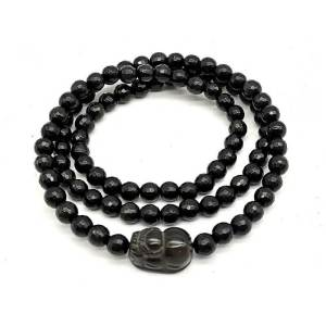 Faceted Black Obsidian with Pi Yao 3-Round Bracelet (6mm) 切面黑曜石貔貅1