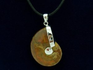 Fiery Polished Ammonite Fossil With Sterling Silver Pendant Holder1