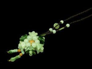 Jade Ingot Flower Pendant Necklace1