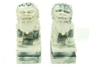 Marble Fu Dogs on Stand for Protection (1 Pair)1