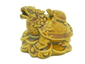 Porcelain Dragon Tortoise On Bed Of Coins And Ingots1