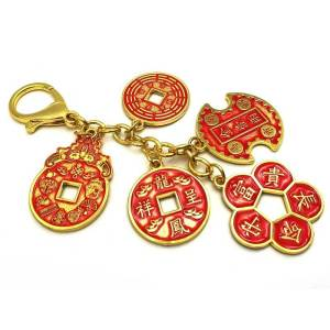 Success and Wealth 5 Amulet Coins Keychain1
