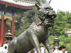 Statue of a Fu Dog at the entrance of the Chinese Temple
