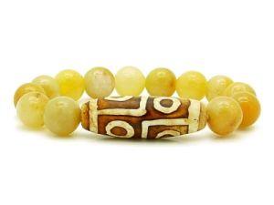 Antiquated 6 Eye Dzi Bead with 12mm Yellow Jasper Bracelet