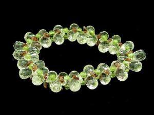 Clear Quartz With Garnet And Peridot Crystal Bracelet