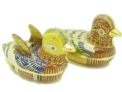 This is a lovely pair of Mandarin Duck beautifully crafted with their 'plumage' filled with colorful enamel.