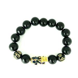 Feng Shui Obsidian Stone Beads Bracelet Blue 1