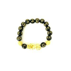 Feng Shui Obsidian Stone Beads Bracelet Gold 1