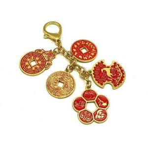 This set of coins must-have amulet Feng Shui keychain is packed with tonnes of good fortune symbols and characters. It focuses on five areas of life pertaining to success and wealth.