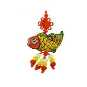 This is a beautiful oriental knick-knack featuring a brocade embroidery of a Feng Shui Carp and decorated with a mystic knot.
