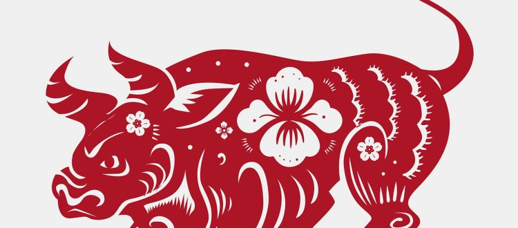 Chinese New Year ox vector red animal zodiac sign sticker