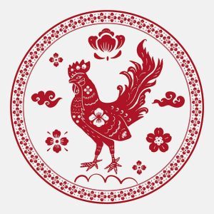 Year of rooster badge vector red Chinese horoscope animal