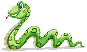 Green snake crawling on white background illustration