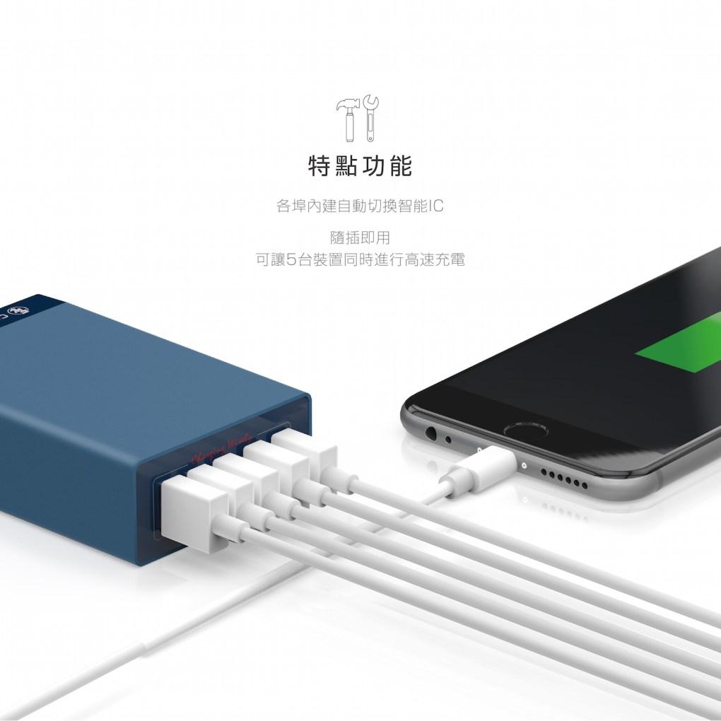 CHANNEL WELL 40W 5 埠 USB 快速充電器 - 混 中 無logo 03