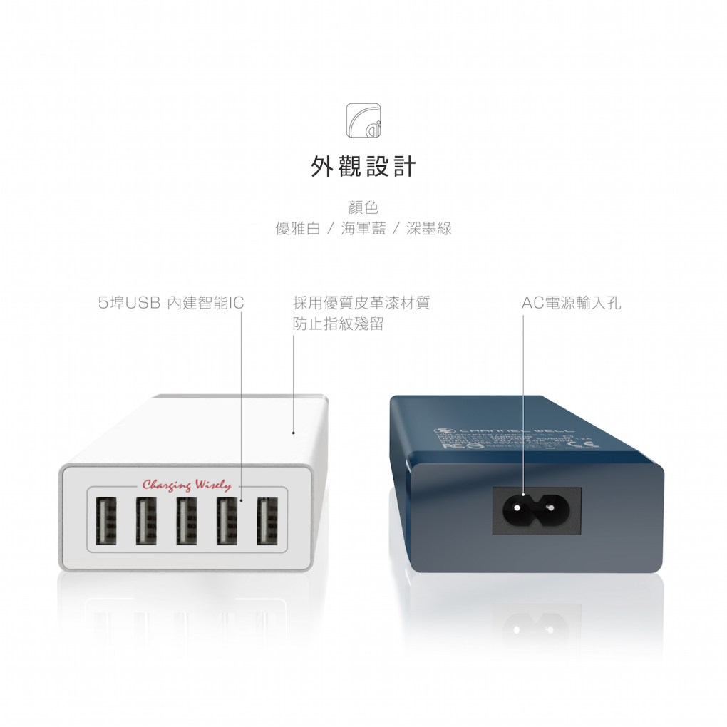 CHANNEL WELL 40W 5 埠 USB 快速充電器 - 混 中 無logo 05