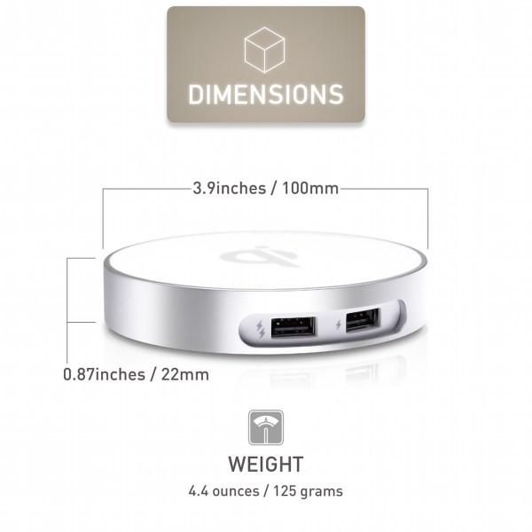 僑威雙USB孔無線充電器 告別桌面雜亂的線材 - 06.DimensionsWeight 01