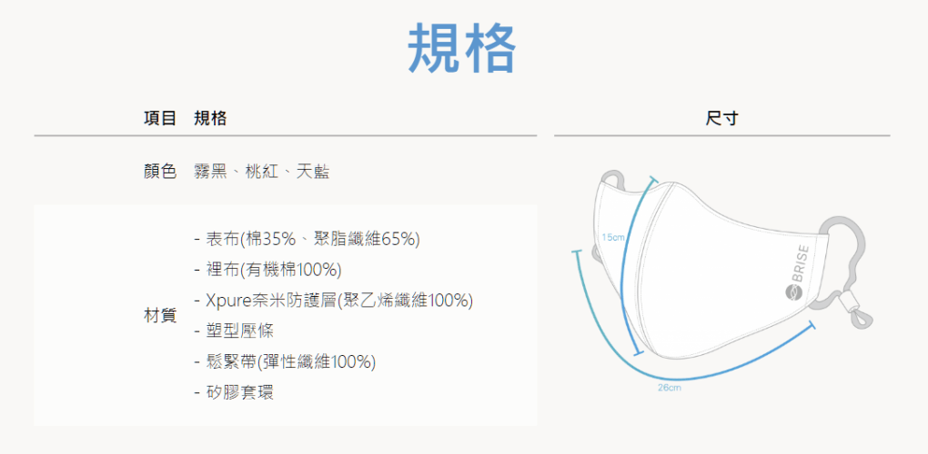 BRISE 抗 PM 2.5 織布防護口罩 (可重複水洗 200 次) - 12