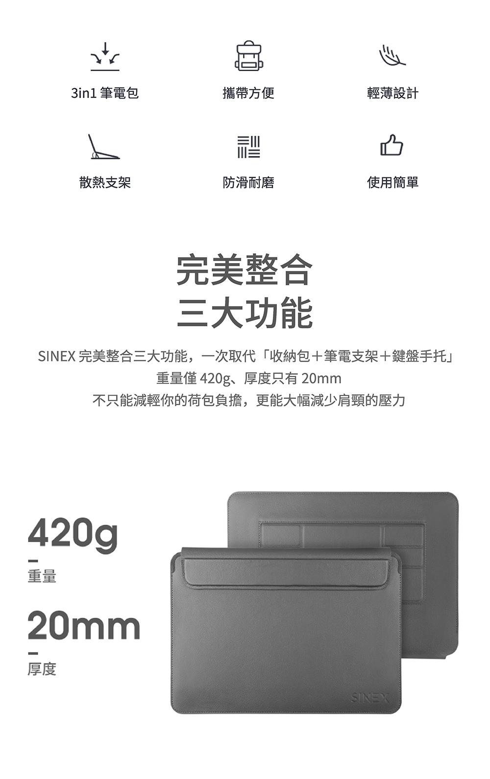【SINEX】全球首款 3 合 1 變形筆電包 適用13/14吋筆電 (收納包+筆電架+鍵盤手托) - SINEX電腦包簡介 02