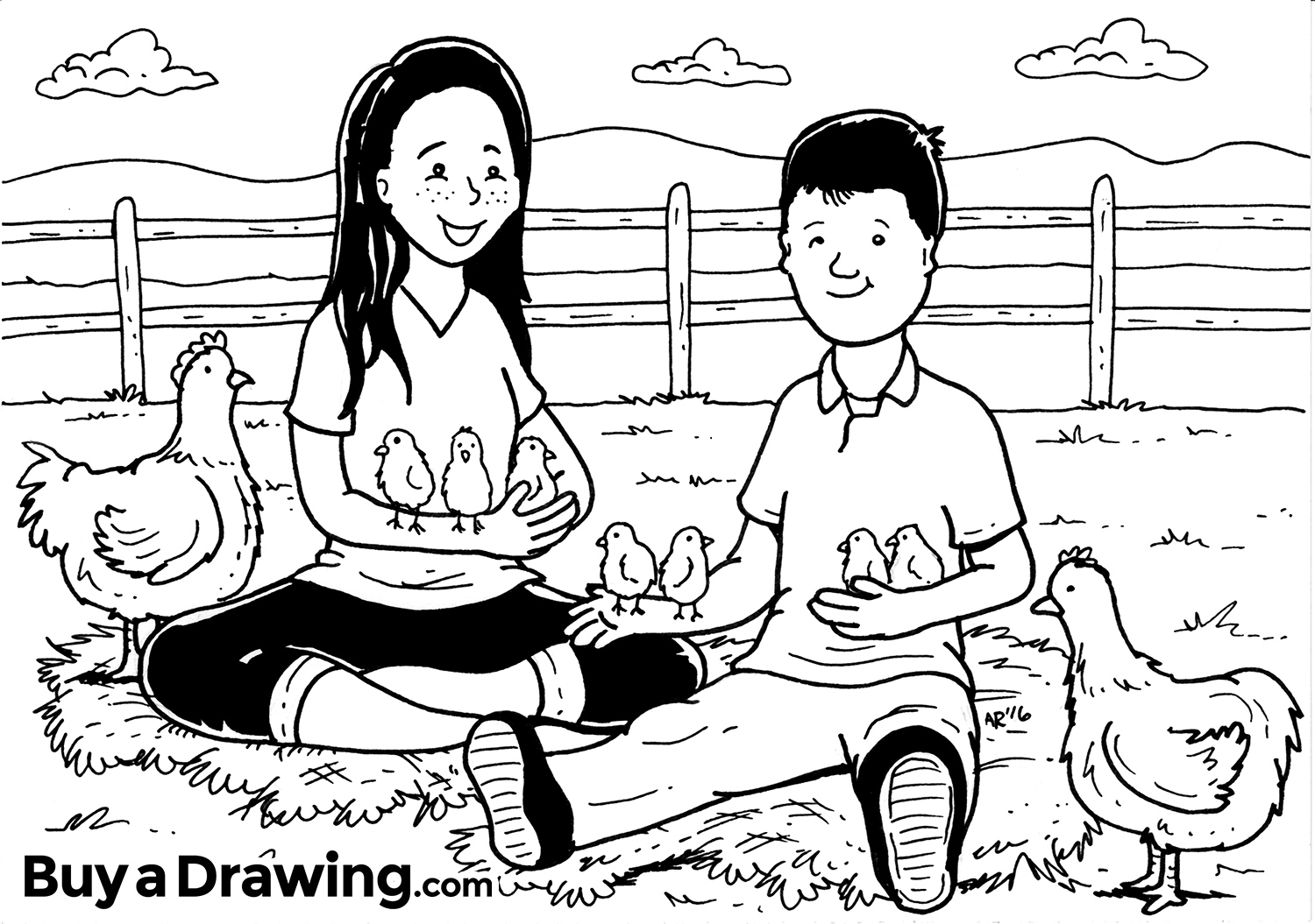 Custom Cartoon Portrait Drawing Of A Sister And Brother