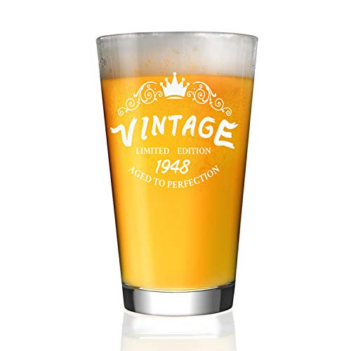1948 70th Birthday Gifts For Men And Women 16 Oz Beer Glass Funny Anniversary Gift Him Or Her 70 Year Old Presents Dad Husband Wife Mom IPA