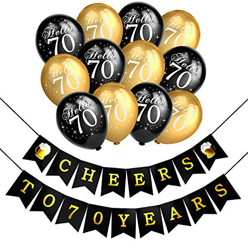Konsait 70th Birthday Party Decorations Kit Cheers To Banner For Her Him Celebration Latex Balloons Black And Gold 70