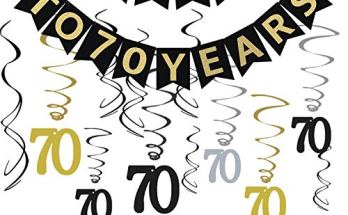Tuoyi 70th Birthday Party Decorations KIT Cheers To 70 Years Banner Sparkling Celebration Hanging Swirls Perfect Old Supplies