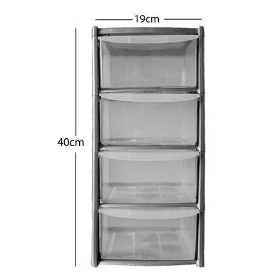 19L Premier 4 Drawer Plastic Storage Tower Clear & Grey