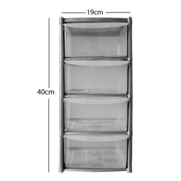 19L Premier 4 Drawer Plastic Storage Tower Clear & Grey