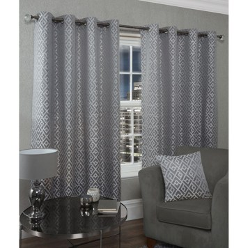 Athens Lined Eyelet Curtains - 66 Inches