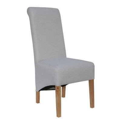 Baxter Fabric Scroll Back Dining Chair Natural