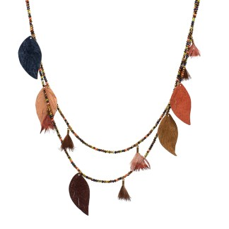 Boho Betty Manat Leather Multi Leaf Necklace