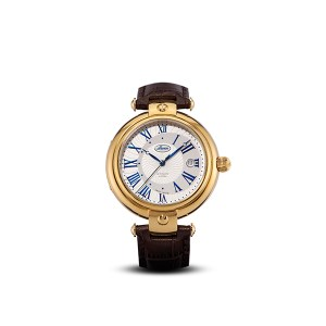 Buran Gent's Luxury Swiss Automatic PVD Watch with Genuine Leather Strap