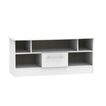 Colby TV Unit White 5 Shelf 1 Drawer