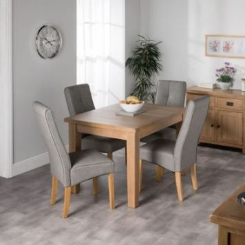 Cotswold Oak Dining Table Set With 4 Grey Milan Chairs