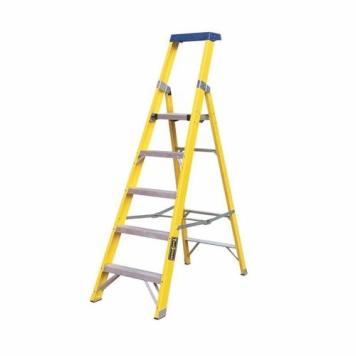 Greenbrook Fiberglass Aluminium Electricians Extension Step Ladder With Platform - 9 Step
