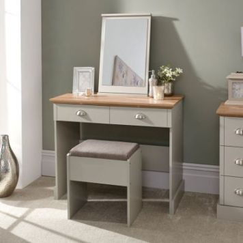 Kendal Dressing Table Grey & Oak 2 Drawer With Stool