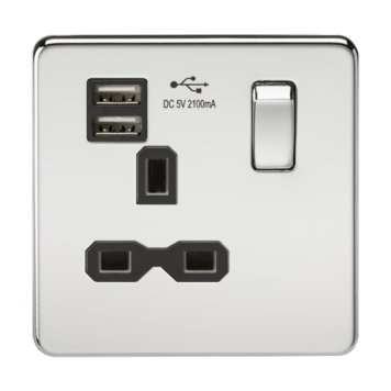 KnightsBridge 13A 1G Screwless Polished Chrome 1G Switched Socket with Dual 5V USB Charger Ports - Black Insert