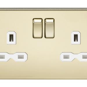 KnightsBridge 13A 2G DP Screwless Polished Brass 230V UK 3 Pin Switched Electric Wall Socket - White Insert