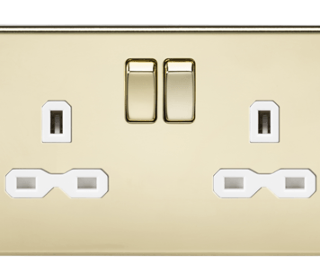 KnightsBridge 13A 2G DP Screwless Polished Brass 230V UK 3 Pin Switched Electric Wall Socket - White Insert