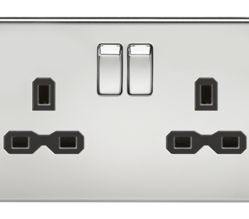 KnightsBridge 13A 2G DP Screwless Polished Chrome 230V UK 3 Pin Switched Electric Wall Socket - White Insert