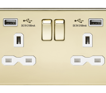 KnightsBridge 13A 2G Screwless Polished Brass 2G Switched Socket with Dual 5V USB Charger Ports - White Insert