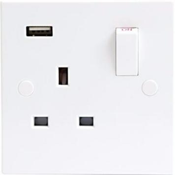 KnightsBridge 13A White 1G 230V UK 3 Switched Electric Wall Socket & USB Charger Point