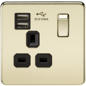 KnightsBridge 1G 13A Screwless Polished Brass 1G Switched Socket with Dual 5V USB Charger Ports - Black Insert