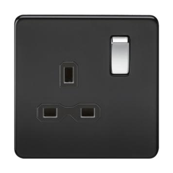 KnightsBridge 1G DP 13A 230V Screwless Matt Black UK 3 Pin Switched Electrical Wall Socket - Black Insert